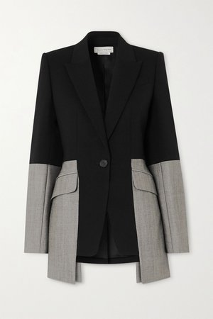 Black Two-tone wool-blend blazer | Alexander McQueen | NET-A-PORTER