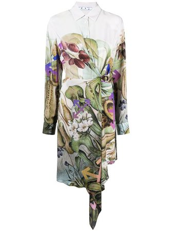 Off-White botanical-print Shirt Dress - Farfetch
