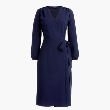 J.Crew: Wrap Dress In 365 Crepe blue