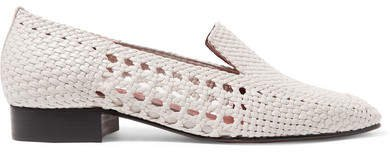 Souliers Martinez - Gerona Woven Leather Loafers - White