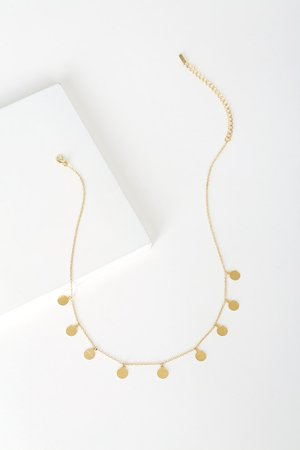 Gold Necklace - Dainty Necklace - Circle Necklace - Coin Necklace
