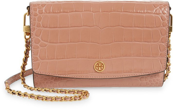 Robinson Croc Embossed Leather Wallet on a Chain