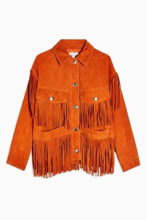 Orange Fringe Leather Jacket | Topshop