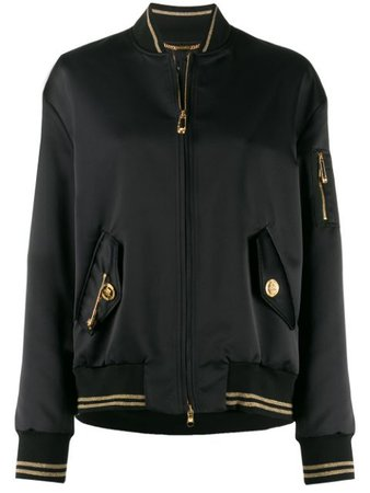 Shop black Versace safety pin detail bomber jacket with Express Delivery - Farfetch