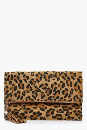 Pony Leopard Foldover Clutch Bag | Boohoo