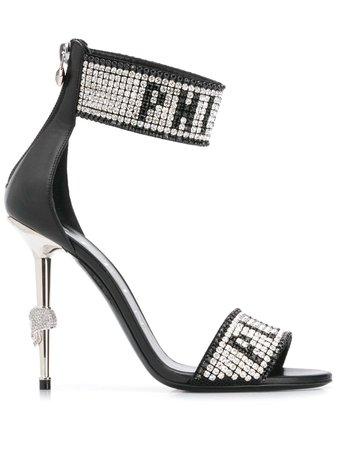 Shop black Philipp Plein Crystal logo sandals with Express Delivery - Farfetch