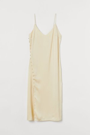Button-detail Slip-style Dress - Yellow