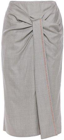 Aura Gathered Checked Wool And Silk-blend Midi Skirt
