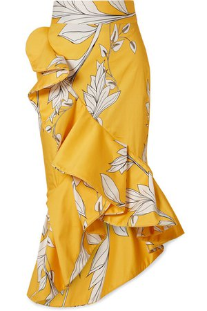 Johanna Ortiz | Lychee ruffled floral-print midi skirt