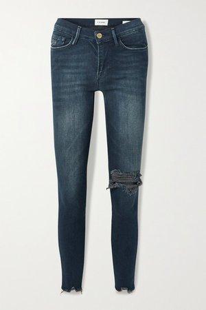 Le Skinny De Jeanne Distressed Mid-rise Jeans - Blue