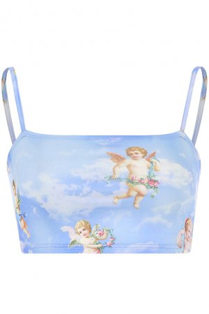 Summer Hot Popular Angel Baby Printed Girls Cropped Blue Cami Top - Beautifulhalo.com