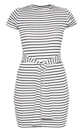 White Stripe Tie Waist T Shirt Dress   PrettyLittleThing USA