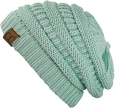 C.C Trendy Warm Chunky Soft Stretch Cable Knit Beanie Skully, 3 Tone Teal at Amazon Women's Clothing store
