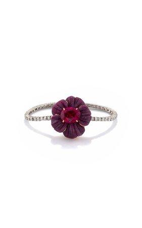 One of a Kind Tropical Flower Bracelet set with Ruby and Rubellite by Irene Neuwirth | Moda Operandi
