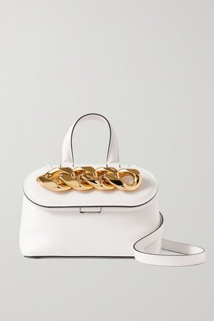 Chain Lid Small Leather Shoulder Bag - White
