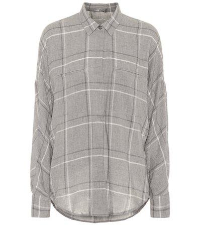 Bar plaid cotton-blend shirt