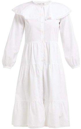 Lace Trim Ruffled Cotton Dress - Womens - White