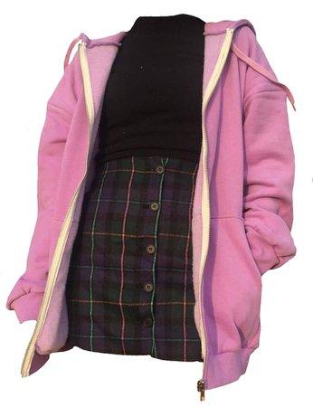 Pink zip-up hoodie, black turtle neck, and plaid skirt
