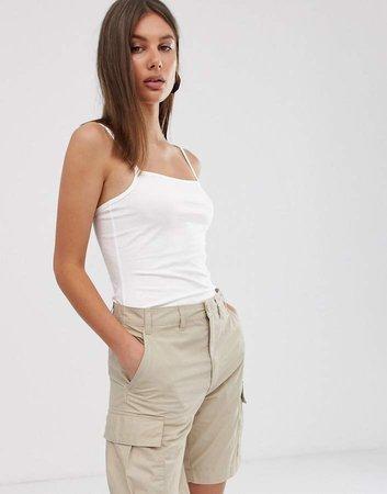 square neck cami top in white