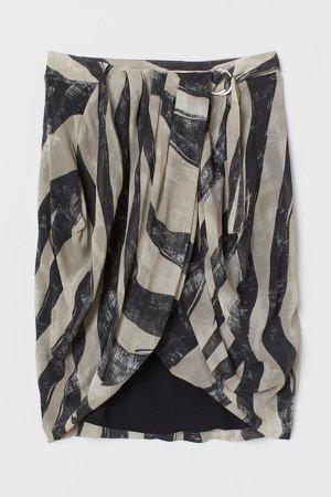 Draped Wrap-front Skirt - Beige