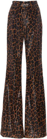 Sequined Leopard Wide-Leg Pants
