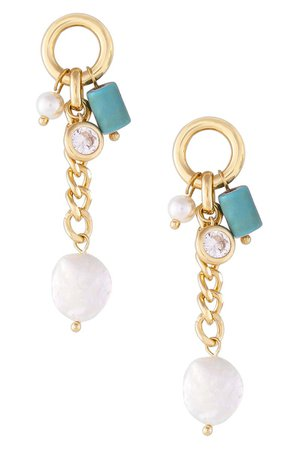 Ettika Turquoise & Freshwater Pearl Earrings | Nordstrom