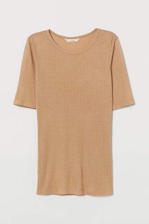 Silk-blend T-shirt - Beige
