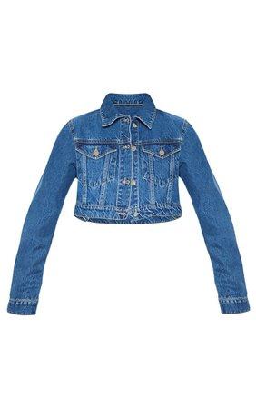 Mid Washed Cropped Rigid Denim Jacket | Denim | PrettyLittleThing USA