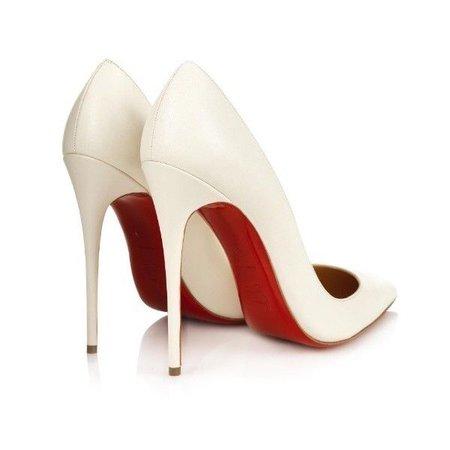white cream louboutin shoes