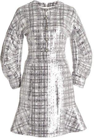 Huishan Zhang Agatha Embellished Plaid Dress