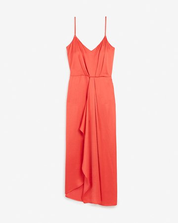 Satin V-neck Asymmetrical Midi Dress | Express