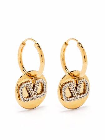 Valentino Garavani crystal-embellished Vlogo earrings - FARFETCH