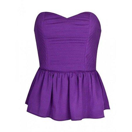 Purple Strapless Peplum Top