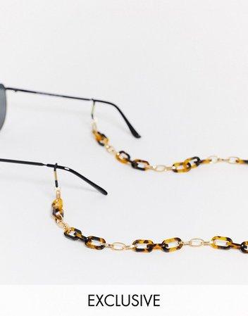 Reclaimed Vintage inspired sunglasses chain in tort | ASOS