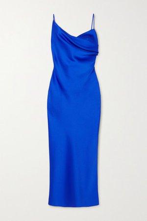 Draped Satin Midi Dress - Blue