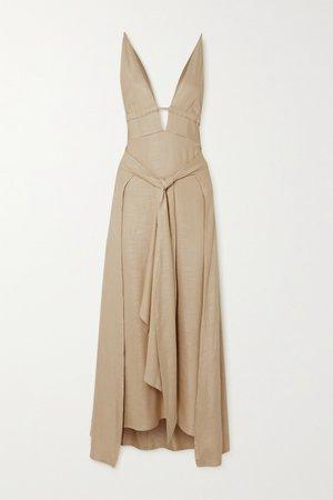 Beige Margot tie-front stretch-voile midi dress   Cult Gaia   NET-A-PORTER