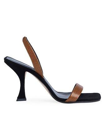 By Far Lotta Lizard-Embossed Leather & Suede Slingback Sandals   SaksFifthAvenue