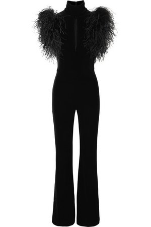 16ARLINGTON | Dunaway feather-trimmed stretch-velvet jumpsuit | NET-A-PORTER.COM