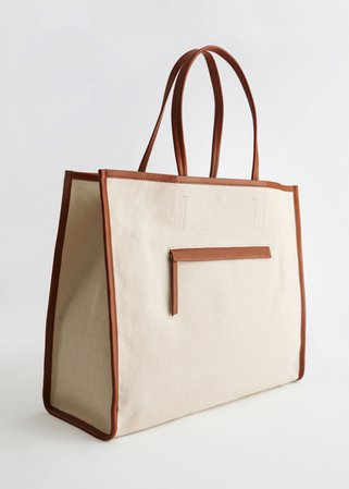 Canvas Tote Bag - Brown Beige - Totes - & Other Stories