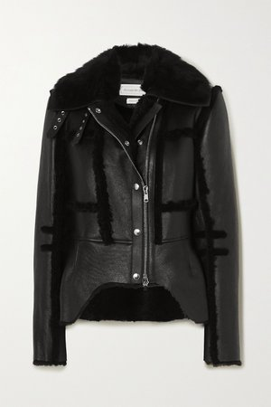 Black Shearling-trimmed leather biker jacket | Alexander McQueen | NET-A-PORTER