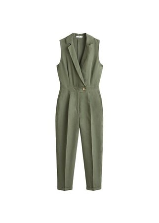 MANGO Long linen-blend jumpsuit