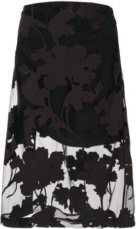 Floral-Devore Layered Skirt