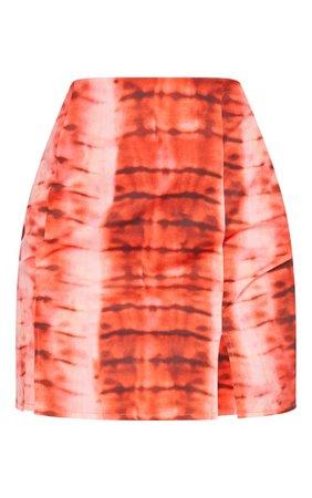 Orange Woven Tie Dye Double Split Mini Skirt | PrettyLittleThing USA