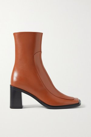 Patch Paneled Leather Ankle Boots - Tan