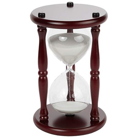 "Lily's Home 60-Minute Hourglass Sand Timer with Cherry Finished Wood Base, Stylish Centerpiece for Home or Office Use, Ideal Gift for Executive, Chef or Kitchen Connoisseur (9.5"" Tall x 6"" Dia. Base): Kitchen & Dining"