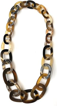 "Amazon.com: HWK HWK Designs: 36"" Oval and Circle Link Natural Buffalo Horn Necklace New (10018BG): Jewelry"
