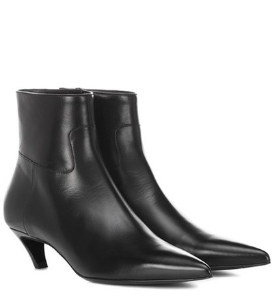 Slash Heel leather ankle boots