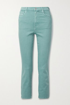 Alma Cropped High-rise Straight-leg Jeans - Gray green