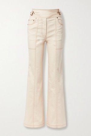 Albie Belted High-rise Wide-leg Denim Jeans - Ecru