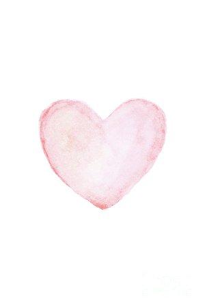 Watercolor pink heart. Painting by Artur Szafranski